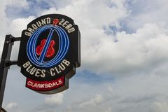 The neon sign of the famous Ground Zero Blues Club in Clarksdale. Clarksdale, Mississippi, USA - June 23, 2014: The neon sign of the famous Ground Zero Blues stock photo
