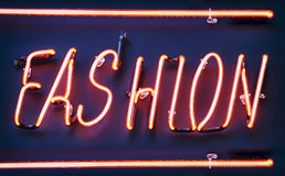 Neon sign for fashion. Close-up Stock Photography