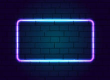 Neon sign frame blank. Royalty Free Stock Photos