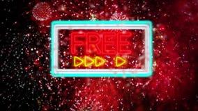 Neon sign `FREE` reveals through rain drops