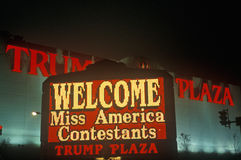 Neon sign in front of Trump Plaza in Atlantic City, NJ Royalty Free Stock Photography