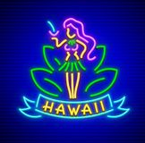 Neon sign with girl of hawaii cocktail Stock Images
