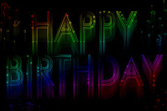 Neon sign happy birthday Royalty Free Stock Image