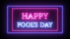 Neon sign `Happy Fool`s Day`. Pink and blue stock illustration