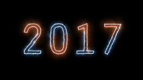Neon sign 2017. Happy New Year 2017 on black background Royalty Free Stock Photo