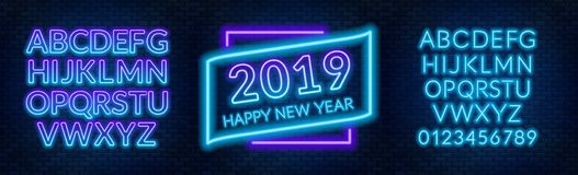 Neon sign happy new year on a dark background with bright alphabets. Can be used for greeting card, invitation and other. Vector illustration stock illustration