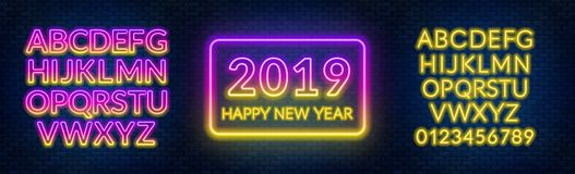 Neon sign happy new year on a dark background with bright alphabets. Can be used for greeting card, invitation and other. Vector illustration royalty free illustration
