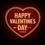 Neon sign. Happy Valentine`s day typography background. Stock Image