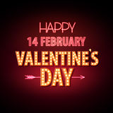 Neon sign. Happy Valentine`s day typography background. Royalty Free Stock Photos