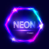 Neon sign. Hexagon background. Glowing electric abstract frame on dark backdrop. Light banner with glow. Bright vector Stock Photo