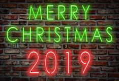 Neon sign, holidays 2019 stock image