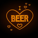 Neon sign. I love beer Royalty Free Stock Photos