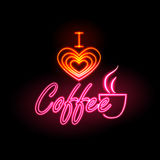 Neon sign. I love coffee Royalty Free Stock Image