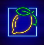 Neon sign icon with lemon fruit Royalty Free Stock Image