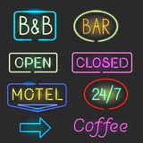 Neon sign icon set with flash light for motel, bar. Open, closed sign Royalty Free Stock Photo