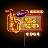 Neon sign Jazz band. On black background royalty free illustration