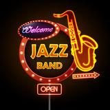 Neon sign Jazz band Stock Photography