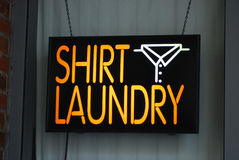 A neon sign of the laundry shop Stock Images