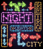 Neon sign light. Set of glow lamp neon signs. Signboard, pointers, arrows and frames. Vector illustration Stock Photography