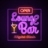 Neon sign. Lounge bar Royalty Free Stock Photo