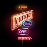 Neon sign. Lounge bar Royalty Free Stock Photography