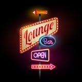 Neon sign. Lounge bar stock illustration