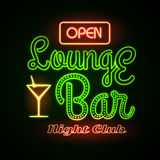 Neon sign. Lounge bar Stock Photo