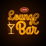 Neon sign. Lounge bar Stock Photos