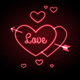 Neon sign. Love heart Stock Photo