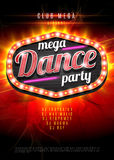 Neon sign mega Dance party in light frame on red  flame background. Vector illustration. EPS10. Royalty Free Stock Image