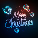 Neon sign. Merry christmas. And firework Royalty Free Stock Photo