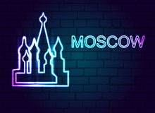 The neon sign of Moscow on a brick wall. Royalty Free Stock Photos