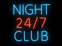 Neon sign - night club. Neon sign of a night club royalty free stock image