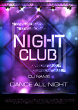 Neon sign. Night club disco party poster Stock Image
