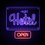 Neon sign. Night Hotel Stock Photography