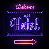 Neon sign. Night Hotel Royalty Free Stock Photography