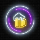 Neon Sign Of Mug Of Beer In Circle Frames On A Dark Brick Wall Background. Luminous Advertising Signboard. Royalty Free Stock Photo