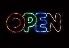 Neon Sign Open. On a dark background Stock Images