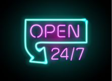 Neon sign Open 24 7 light vector background. Realistic glowing shining design element in arrow frame for 24 Hours Club, Bar, Cafe Royalty Free Stock Images