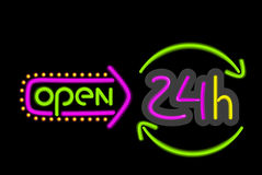 Neon Sign Open Round the Clock on Black Background Royalty Free Stock Photo