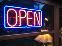 Neon Sign Open signage Light Bar Restaurant Shop Royalty Free Stock Image