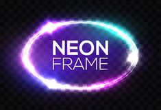 Neon sign. Oval frame with glowing light sparkles. Stock Image
