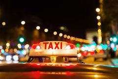 Neon sign of a Parisian taxi Royalty Free Stock Photography