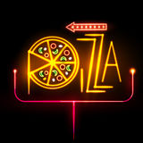 Neon sign pizza Stock Photo