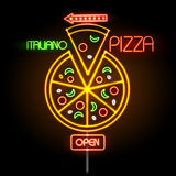 Neon sign pizza stock illustration