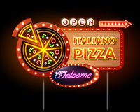Neon sign Pizza Stock Photography