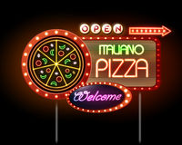 Neon sign pizza Stock Images