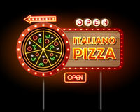 Neon sign pizza. On black background royalty free illustration