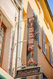 Neon sign for Pizzeria Restaurant on the street Stock Photos