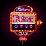 Neon sign. Poker club Royalty Free Stock Image